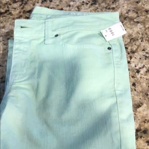 BNWT size 28 GAP skinny jeans in mint color